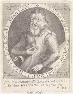 anoniem | Portret van Johannes Piscator, attributed to Paul de Zetter, 1628 - 1645 | Portret van Johannes Piscator, theoloog, met de Bijbel in zijn hand op 80-jarige leeftijd. Onderaan een tweeregelige tekst in het Latijn.