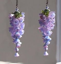 Wisteria Earrings - A Study in Purple and Hyacinth Blue. Mostly acrylic flowers. Polymer Clay Jewelry, Wire Jewelry, Jewelry Crafts, Beaded Jewelry, Handmade Jewelry, Jewlery, Silver Jewelry, Lucite Flower Earrings, Beaded Earrings