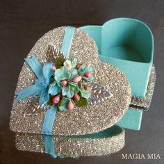 Tiffany Blue Heart Jewelry Box, Silver German Glass Glitter, Millinery Flowers,  Valentine's Day Trinket Box by MagiaMia