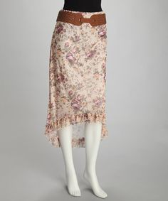 Take a look at this Tan Floral Asymmetrical Belted Skirt by The Look: Summer Separates on #zulily today!