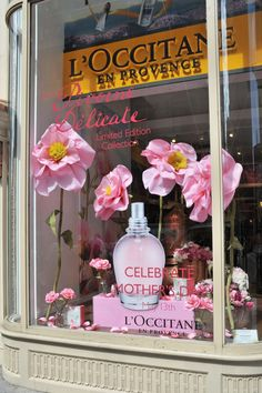 mothers day window display parfume l'occitane
