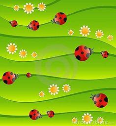 ladybug background pictures | Green Background With Small Ladybug Royalty Free…