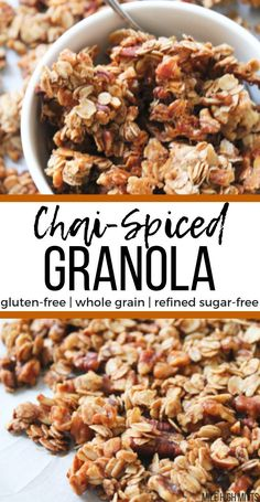 Enjoy your favorite Chai spices like cinnamon, ginger, allspice, and cardamom in a homemade granola. This Chai-Spiced Granola is gluten-free, whole grain and refined sugar-free, making it a healthy and easy option for breakfast or for a snack. Warm, spiced Fall flavors envelop this crunchy, nutty granola that you'll be grabbing by the handfuls!