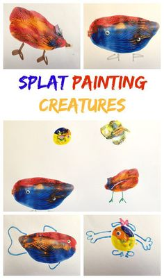 Love open ended art projects - Splat Painting Creatures - In The Playroom Fun Arts And Crafts, Easy Crafts For Kids, Summer Crafts, Diy For Kids, Fun Crafts, Science Crafts, Kids Fun, Art Activities For Kids, Preschool Art