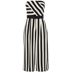 Coast Selena stripe jumpsuit (£119) ❤ liked on Polyvore featuring jumpsuits, dresses, rompers, monochrome, women, cropped jumpsuit, playsuit romper, jump suit, romper jumpsuit and slimming slip