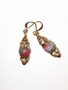 Candy Cane Jade Gemstone Swarovski Crystal Handmade Gold Earrings | JewelryByAprilee - Jewelry on ArtFire