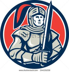 Illustration of knight in full armor holding sword facing front set inside circle on isolated background done in retro style.