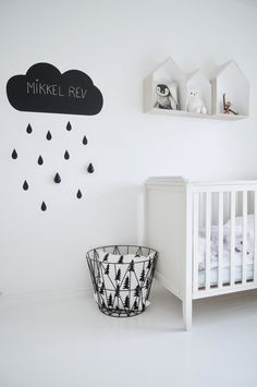 Simple white nursery with black