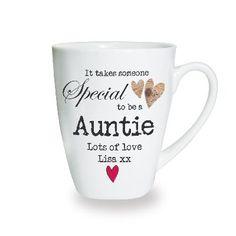 www.hastings-crystal.co.uk >> Personalised Gifts >> Personalised Mugs >> Special Auntie Personalised Latte Mug