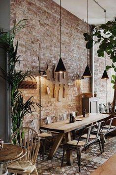 32 Lovely Villa Interior Design Ideas To Scale Up Your Life - Trend Home Villa Interior, Cafe Interior Design, Home Interior, Interior Decorating, Cafe Interior Vintage, Decorating Ideas, Brick Interior, Kitchen Interior, Natural Interior