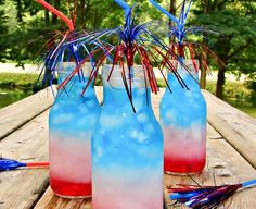 Fun, festive drinks for the 4th of July. These will be a huge hit, and those that have alcohol can go either way for each to decide!!