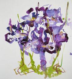 "Susan Petryszak,   ""Irises II""   Water Media on Paper,   24 1/2 x 22 1/4 inches"