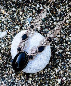Obsidian macrame necklace, Volcanic lava, natural stones, Mexican obsidian, Onyx, boho, silver, shine, volcanic stone, Gypsy, macrame, Gift by SPIRALICA on Etsy