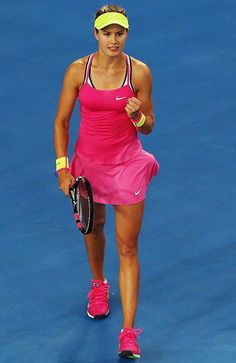 Eugenie Bouchard making moves in this bubblegum pink number. #fierce