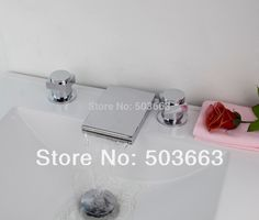 67.94$  Watch now - http://aliywe.shopchina.info/go.php?t=1706918009 - LED New Waterfall Design 3 Pieces 2 Lever Bathroom Bathtub Basin Sink Brass Faucet Vanity Mixer Tap Chrome MF-479 67.94$ #buymethat
