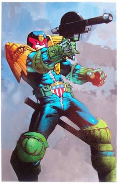 Judge Dredd from Judgement on Gotham by Simon Bisley (from the days when he was worth bothering with - Biz, not Dredd who remains vital and exciting - unlike Biz).