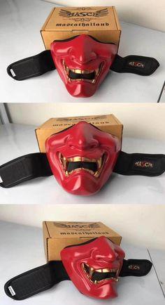 Samurai Mempo Kabuto Motorcycle Riding Face Mask Red