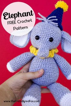 Free crochet pattern for an elephant that would be great for any circus! Pattern is easy to read and is a good beginner to intermediate crochet level. Crochet Elephant Pattern, Crochet Animal Patterns, Stuffed Animal Patterns, Crochet Animals, Dinosaur Stuffed Animal, Elephant Love, Cute Crochet, Fun Stuff, Free Pattern