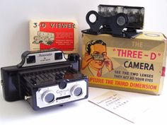Coronet 3D camera. A uniquely designed camera advertised as two cameras in one, able to take stereoscopic pics or ordinary snap shot prints on standard number 127 roll film. It was constructed of plastic bakelite with a built-in binocular viewer. The camera was made without and with a synchronized flash feature. A few variations in the body style was also made, including an early ribbed black body, a smooth black body and a speckled color body. This camera would take 4 stereo images or 8…