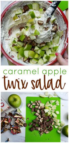 Make a Twix caramel apple for a fall dessert! A yummy cool whip caramel treat fo… Make a Twix caramel apple for a fall dessert! A yummy cool whip caramel treat for parties or kids. Twix salad recipe for pot lucks. Potluck Desserts, Potluck Dishes, Potluck Recipes, Fall Recipes, Cooking Recipes, Dessert Recipes, Easter Desserts, Salad Recipes For Parties, Cooking Games