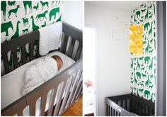 Mini-crib, some how seems so much more comforting then laying a baby in a big crib, takes up less room as well.