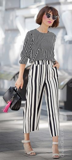 mixing prints   total striped look   striped culottes   summer outfits
