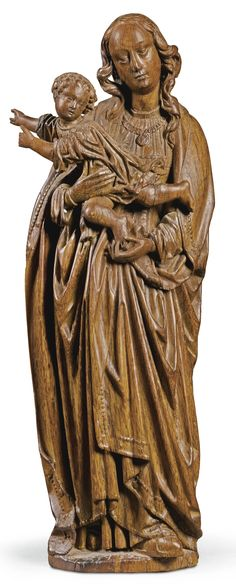 NETHERLANDISH, BRUSSELS, EARLY 16TH CENTURY VIRGIN AND CHILD oak 63.5cm., 25in.