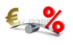 símbolo del euro en una balanza con un signo de porcentaje.