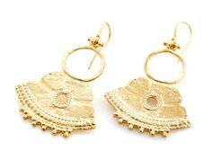 Gold boho dangling Plated earrings, Tuareg design, statement earrings, tribal, handmade, trendy, bohemian jewelry, new, Desert collection.