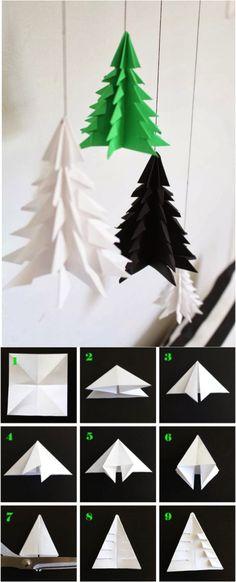 DIY Paper christmas tree, origami style.