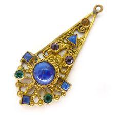 Vintage Czech Art Deco Lapis Glass Filigree Gold Tone Pendant | Clarice Jewellery | Vintage Costume Jewellery