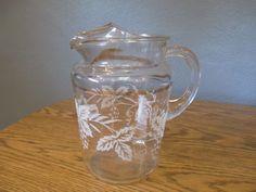 Vintage Glass Iced Tea - Water - Lemonade Pitcher - Ice Spout - NICE!!