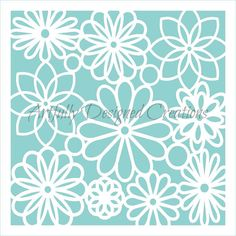 Flower Lace Background Stencil Entire stencil measures 5.5 x 5.5. Actual design measures 5 x 5. Blue sections in the image are the open sections. All stencils are made with FDA approved plastic for direct food contact. Stencils are cut from a reusable, durable plastic that is