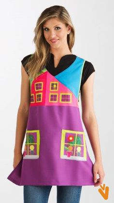 € 30,80 - Estola Maestra Ventanas Applique Cushions, Sewing, How To Wear, Pretty, Aprons, Industrial, Fashion, Teacher Apron, Sewing Aprons