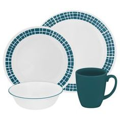 Corelle Livingware Dinnerware Set, Aqua Tiles, Service for 8 (Two Sets) Dinnerware Sets Walmart, Dinnerware Sets For 12, Square Dinnerware Set, Casual Dinnerware, Dinnerware Ideas, Green Dinnerware, Corelle Patterns, Glass Kitchen, Stoneware Mugs