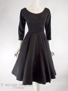 Vintage 1950s New Look Black Silk Faille and Satin Party Dress. Three-quarter sleeves, nipped waist, full skirt - sm by Better Dresses Vintage