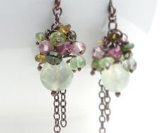 Copper earrings, pink and green quartz earrings, wire wrap copper jewelry