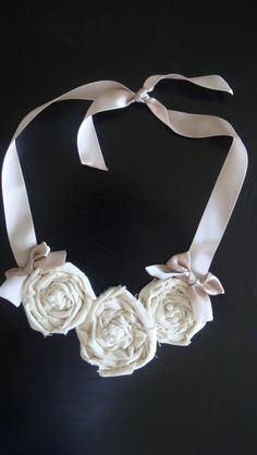DIY Fashion - fabric rosette bib necklace tutorial - fabric flower jewellery project with no sewing required