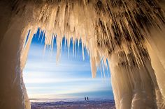The extreme cold this winter in Wisconsin has created spectacular ice formations at the Apostle Islands National Lakeshore. The destination usually requires a boatride to reach, but Lake Superior's frozen state has made it accessible by foot for visitors. Sea Cave, Great Lakes Region, Packing Tips For Travel, Travel Ideas, Lake Superior, Oh The Places You'll Go, Weekend Getaways, Beautiful Landscapes, Cool Photos