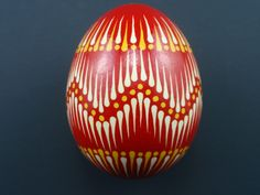 Easter Pysanka on Chicken Egg, Hand Decorated Real Egg in Red, Polish Pysanky, Wax Resist Decorated Egg. Eastern Eggs, Polish Easter, Red Polish, Ukrainian Easter Eggs, Coloring Easter Eggs, Egg Art, Chicken Eggs, Egg Decorating, Eggs