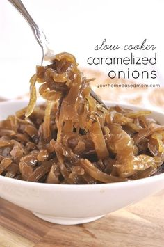 Caramelized onions in the slow cooker @yourhomebasedmom.com  #crockpot #slowcooker #recipes