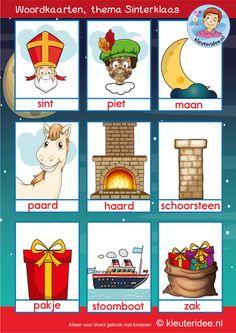 woordkaarten Sinterklaas met roetveegpiet, kleuteridee Kindergarten, Saint Nicolas, Free Printables, Back To School, December, Kids, Bingo, Dutch, Stage