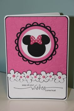 Baby girl cards stampin up minnie mouse 49 ideas Disney Birthday Card, Girl Birthday Cards, Baby Girl Cards, Bday Cards, Diy Birthday, Birthday Parties, Birthday Wishes, Cricut Cards, Stampin Up Cards