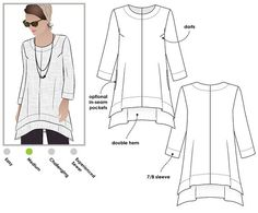 Woven top sewing pattern for women in sizes 10, 12 and 14. PDF pattern for instant download. See size chart in the gallery to choose your correct size!