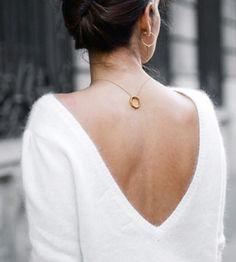 White angora sweater, v-neck, v back, deep v, gold necklace, ring