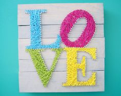 LOVE wooden sign for decor Great wedding by GrizzlyandCo Love Wooden Sign, Wooden Signs, Handmade Crafts, Diy And Crafts, Arts And Crafts, Art Projects, Sewing Projects, Nail String Art, String Art Patterns
