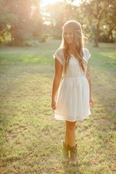 Simple white dress with lace sleeves (American Eagle) and country boots (Target)