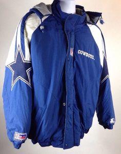 Vtg 1990's Dallas Cowboys Starter Proline Jacket Coat Large Parka Proline Large | eBay