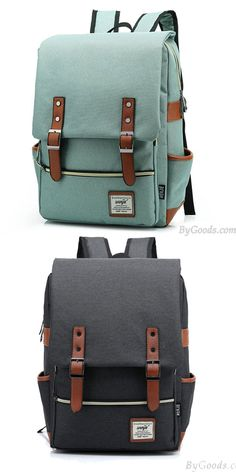 Vintage Travel Backpack Leisure Canvas With Leather Backpack&Schoolbag for big sale ! #backpack #school #bag #leisure #canvas #travel #vintage
