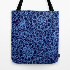 Periwinkle Blue Ballpoint Pen Lace Doodle Tote Bag